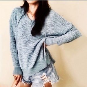 Young Fabulous and Broke Open Knit Hoodie Sweater